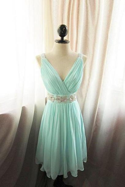 Beaded Embellished Blue Ruched Plunge V Short Chiffon Bridesmaid, Homecoming Dress