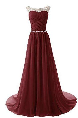 Custom Made A Line Round Neckline Maroon Long Prom Dresses 2017, Long Formal Dresses