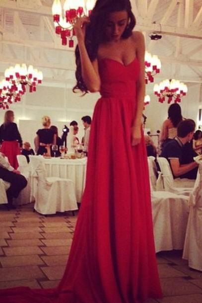 Custom Made Sweetheart Neck Red Long Prom Dresses with Train, Red Formal Dresses 2017, Red Evening Dresses