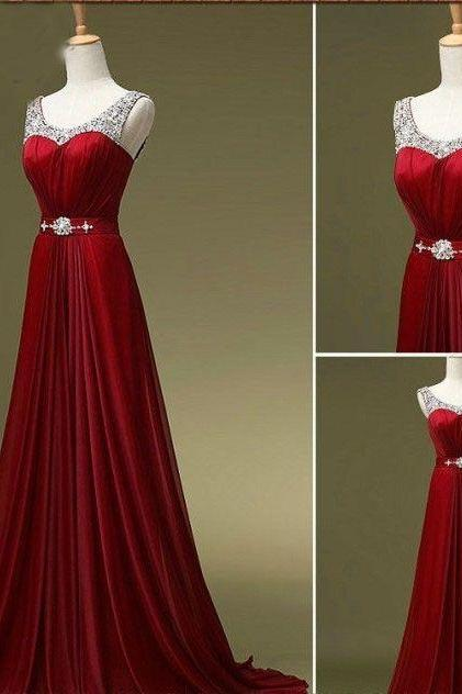 Custom Made A Line Dark Red Round Neck Long Prom Dresses, Bridesmaid Dresses, Formal Dresses, Evening Dresses