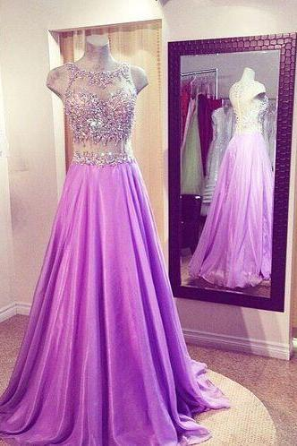 2017 Custom Made Lavender Chiffon Prom Dress,Beading Evening Dress,Floor Length Party Dress,High Quality