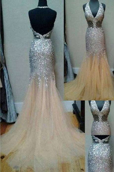 Charming Prom Dress,Beading Prom Dress,Halter Prom Dress,Mermaid Evening Dress