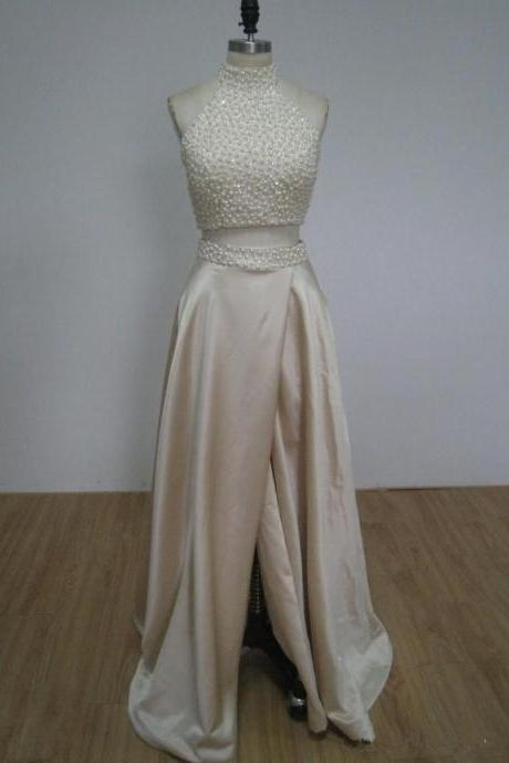Two Pieces Ivory Beading Prom Dress,Long Prom Dresses,Cheap Prom Dresses,Evening Dress Prom Gowns, Custom Made Formal Women Dress,prom dress