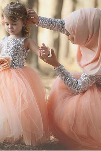 Mother's Dress,Sequins Silver Peach Mother and Daughter Fashion Dress