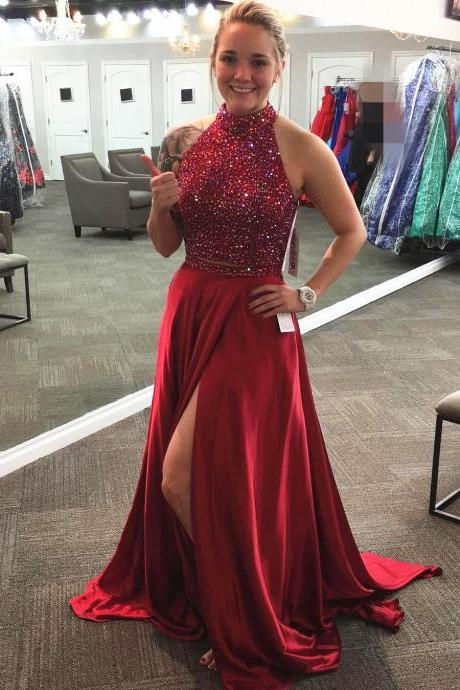 Two Piece Prom Dress,Satin Prom Gowns,2 Piece Prom Dress,Burgundy Prom Dresses,Prom Gowns 2017