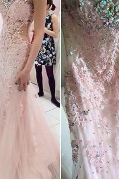 Pretty Appliques and Lace Prom Dresses, Sweetheart Prom Dresses, Real Made Prom Dresses,Chiffon Backless Prom Dresses On Sale