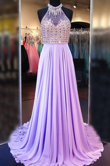 A Line Cowl Neck Sleeveless Long Pleated Beaded Lilac Prom Dress Open Back