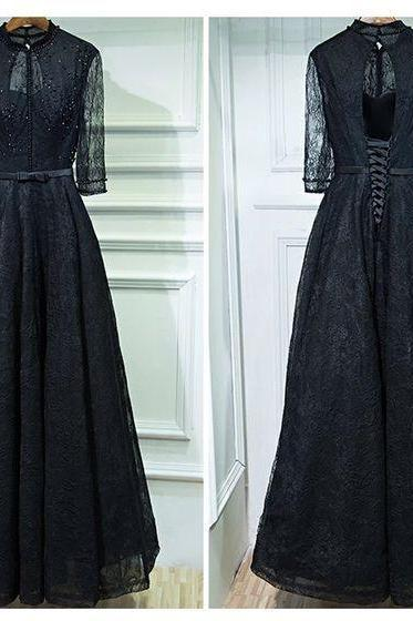 O-Neck Lace A-Line Prom Dresses,Long Prom Dresses,Cheap Prom Dresses, Evening Dress Prom Gowns, Formal Women Dress,Prom Dress