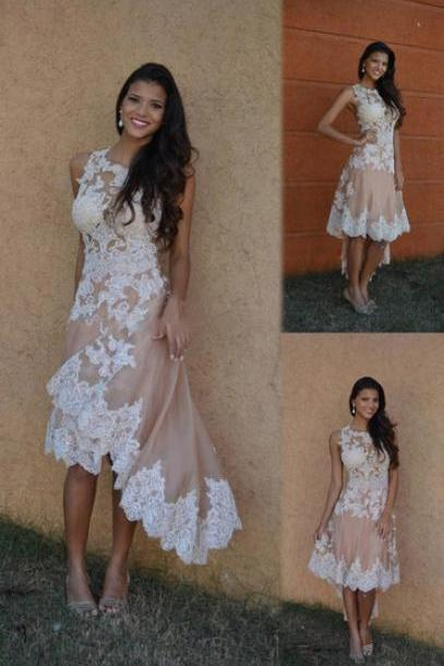 High Quality Prom Dress,Charming Prom Dress,High/Low Prom Dress,Appliques Prom Dress,A-Line Prom Dress
