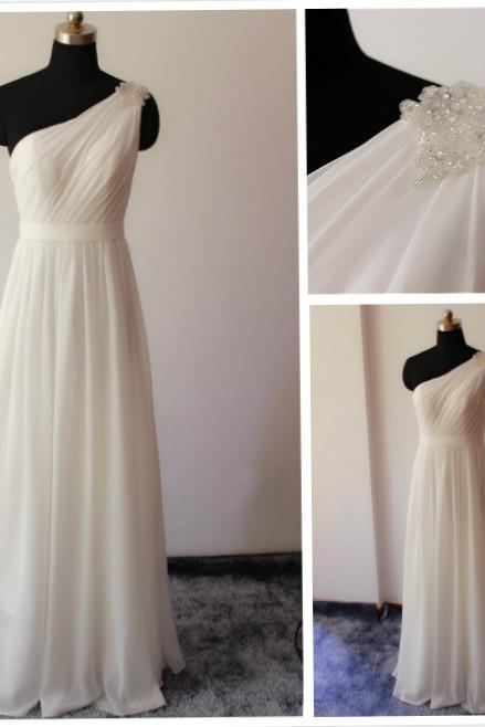 High Quality Prom Dress,A-Line Prom Dress,Chiffon Prom Dress,One-Shoulder Prom Dress, Brief Prom Dress