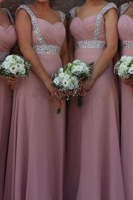 Charming Prom Dress,Chiffon Bridesmaid Dress,Beading Bridesmaid Dress,A-Line Prom Dress