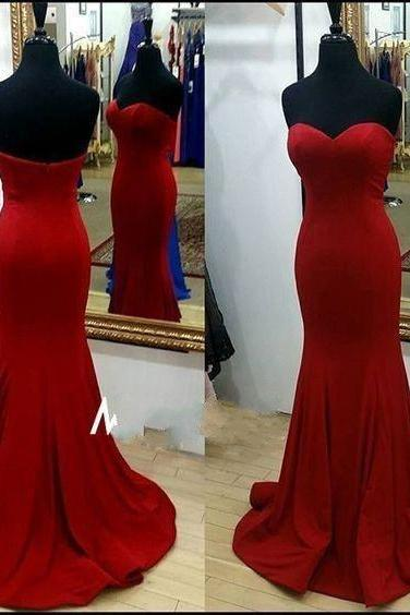 Red Satin Sweetheart Floor Length Mermaid Wedding Guest Dress Featuring Sweep Train