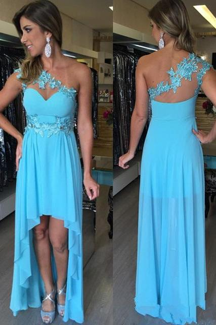 Charming Prom Dress,High/Low Prom Dress,Chiffon Prom Dress,One-Shoulder Evening Dress