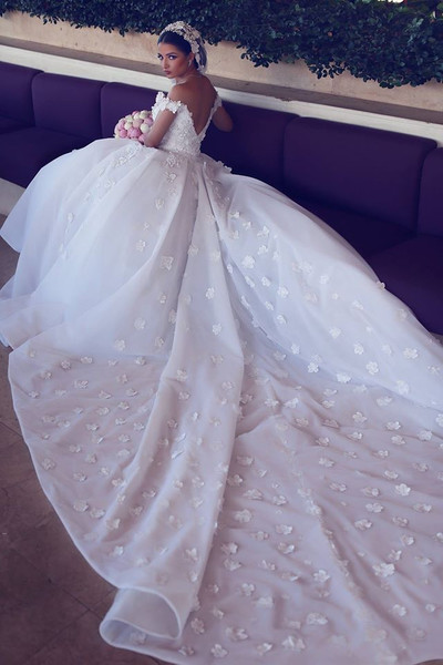 Elegant Off the shoulder Long White Wedding Dress with Train
