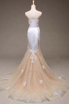 Elegant Strapless Champagne Long Prom Dress with White Lace