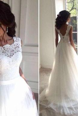 Elegant A-line White Long Wedding Dress