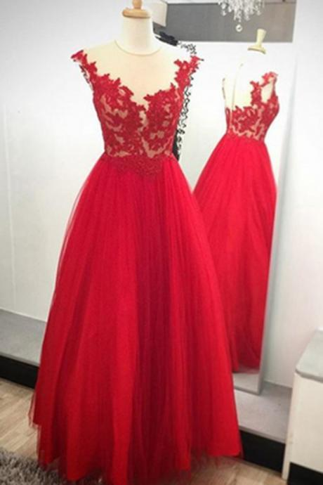 Red tulle see-through round neck lace applique long dress, A-line evening dress homecoming dress