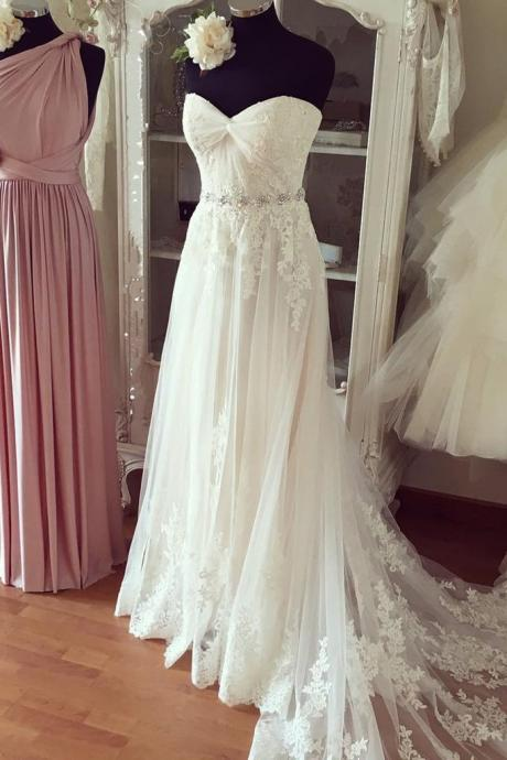 Pure white chiffon lace organza sweetheart beading long train prom dresses,wedding dresses