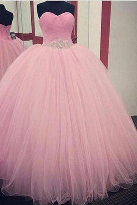 Princess pink organza sweetheart beading sequins A-line long prom dresses,ball gown dress