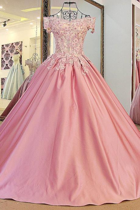 Peach satins lace off-shoulder A-line applique long ball gown dress,princess evening dress
