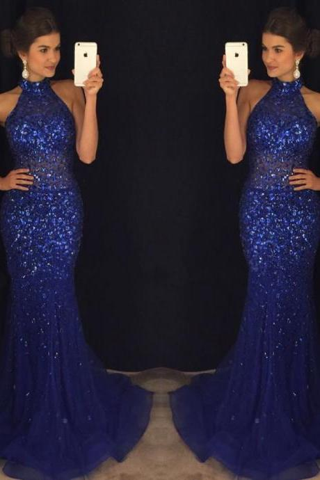 New Arrival Prom Dress,Modest Prom Dress,royal blue dresses,crystal dress,mermaid prom dresses 2017