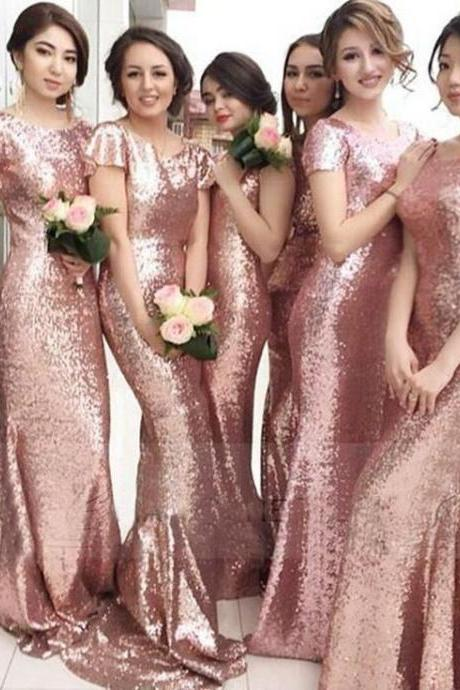 Rose Gold Long Mermaid Bridesmaid DressES With Sleeves,Sheath Sexy Prom Dresses,Bridesmaid Gowns