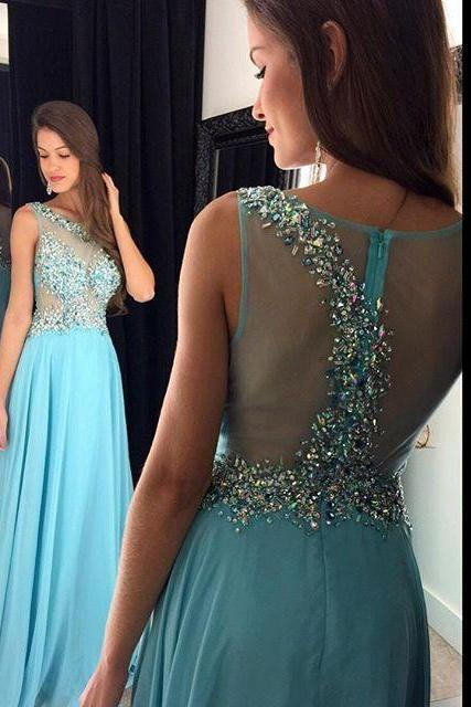 Evening Dresses, Prom Dresses,Party Dresses,Prom Dress, A-line Prom Dress, Sleeveless Prom Dress, Crystal Prom Dress, Long Prom Dress, Illusion Back Prom Dress