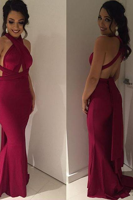 Sexy Burgundy Mermaid Satin Criss cross Back Long Prom Dresses Evening Party Dresses Gowns Vestidos Plus Size