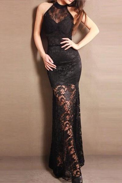 2017 Custom Made Black Lace Prom Dress,Sexy Halter Evening Dress,Sexy Sleeveless Party Dress,High Quality