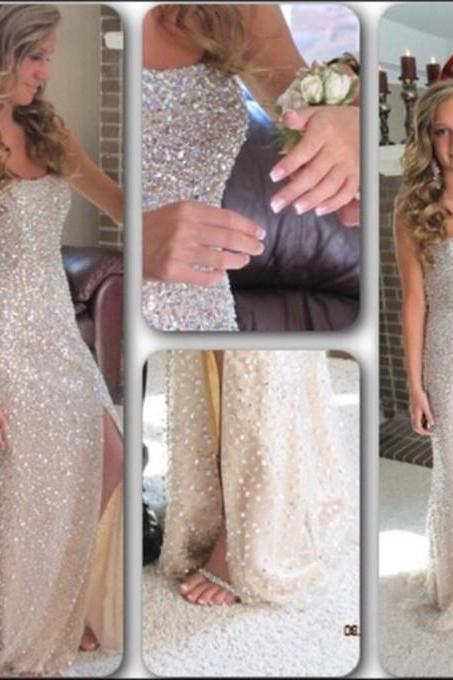 Beaded Embellished Strapless Straight-Across Floor Length Trumpet Formal Dress Featuring Slit, Prom Dress
