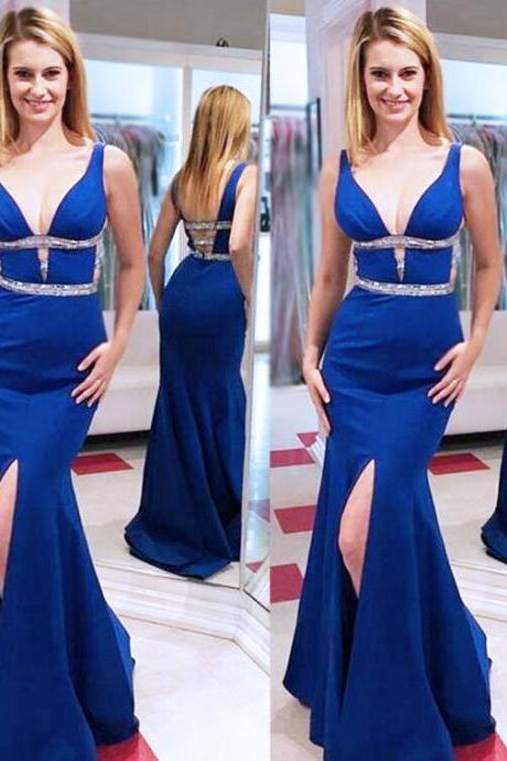 Elegant V-Neck Prom Dresses,Backless Prom Dresses,With Slit Prom Dresses,Long Prom Dresses