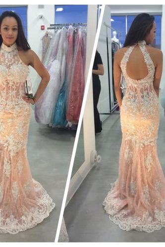 2017 Custom Made Lace Prom Dress,Beading Evening Dress,Halter Backless Sexy Dress,See Through Party Dress,High Quality