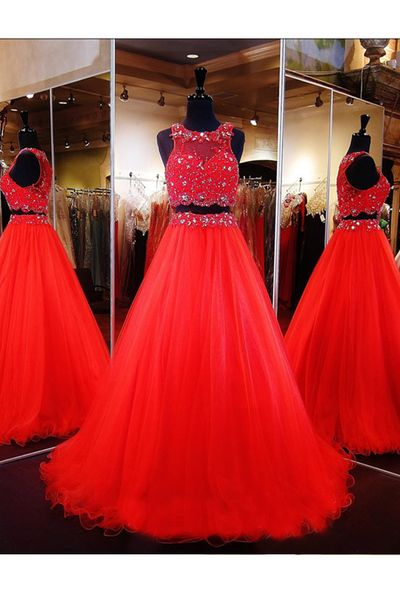 2017 Custom MadeTwo Pieces Prom Dress,Red Beading Evening Dress,Sexy Sleeveless Party Gown, High Quality