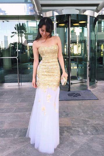 2017 Custom Made Gold Sequins Prom Dress,Sexy Sweetheart Evening Dress,Mermaid Tulle Party Gown, High Quality