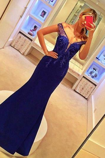 2017 Custom Made Royal Blue Prom Dress,Sexy Off The Shoulder Evening Dress,Floor Length Party Gown, Bodice Prom Dress,High Quality