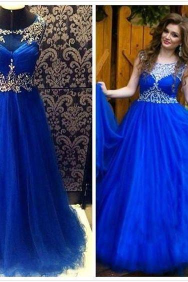 2017 Custom Made Royal Blue Prom Dress,Beaded Evening Dress,Sleeveless Party Dress,Floor Length Prom Dress