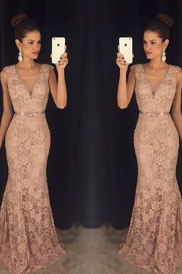 2017 Custom Made Charming Blush Pink Prom Dress,Beading Evening Dress,Deep V-Neck Prom Dress