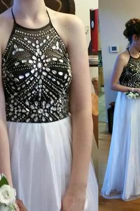 2017 Custom Made Newest Halter Prom Dress,Beading Prom Dress,A-Line Prom Dress,Evening Dress