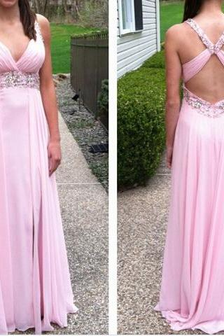 2017 Custom Made Charming Prom Dress,Backless Prom Dress,A-Line Prom Dress,Chiffon Prom Dress,Beading Evening Dress