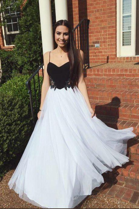 2017 Custom Made High Quality Prom Dress,Tulle Prom Dress,A-Line Prom Dress,Spaghetti Straps Prom Dress, Charming Evening Dress
