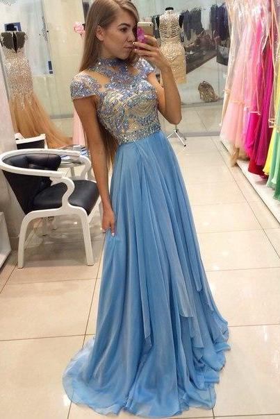 Blue Chiffon Prom Dresses,Chiffon Prom Dresses,Long Chiffon Prom Dresses,Beaded Prom Dresses,Cap Sleeves Evening Dresses,Long Beaded Party Dresses,Chiffon Formal Gowns