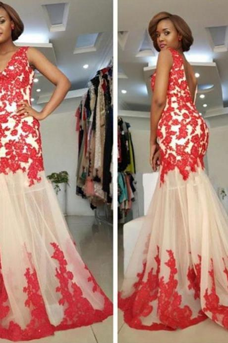Long Sexy Red Appliques Mermaid Prom Dress Party Cocktail Dresses V-neck Tulle Backless Mermaid Formal Gowns Evening Dresses