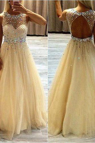 2017 Custom Charming Tulle Yellow Prom Dress,Beading Sleeveless Evening Dress,See Through Prom Dress,Sexy Backless Prom Dress