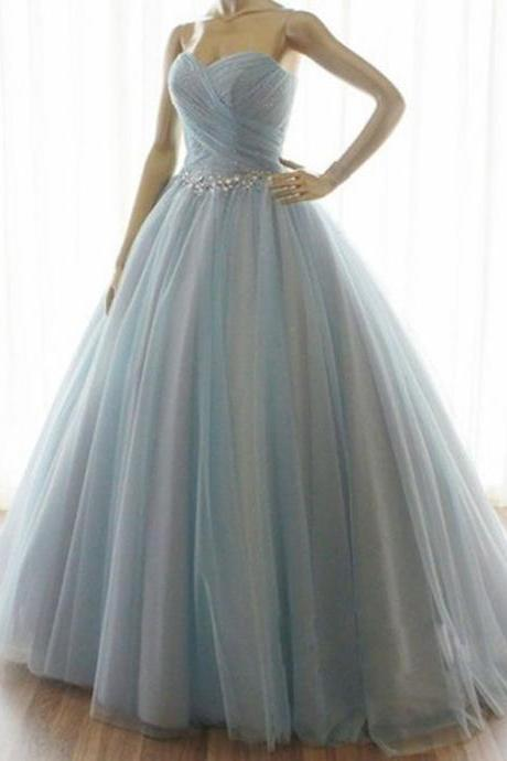 Handmade Strapless A-line Long Tulle Prom Dresses/Quinceanera Dresses
