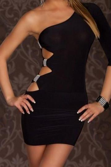 One Sleeve Prom Dress,Black Prom Dress,Mini Prom Dress,Fashion Homecoming Dress,Sexy Party Dress, New Style Evening Dress