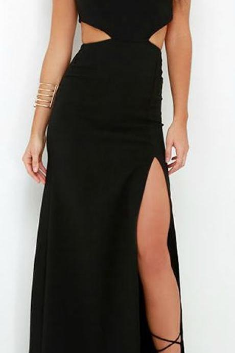 2017 Custom Charming Black Long Prom Dress,Short Sleeves Evening Dress,Sexy Slit Party Dress