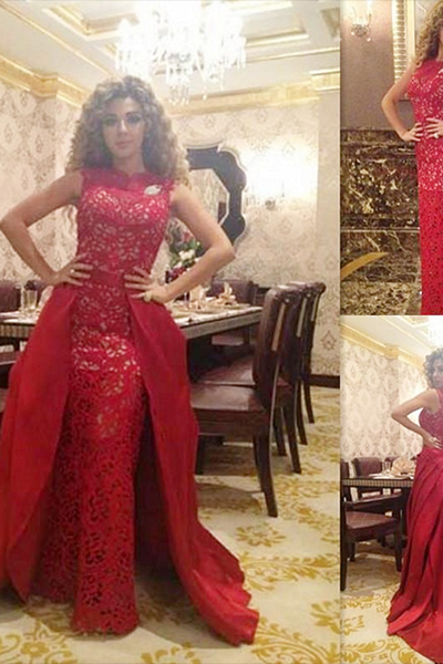 Prom Dress, Elegant Prom Dress, Red Lace Evening Dress, Floor Length Evening Dress, New Arrival Evening Dress, Detachable Evening Dress, Custom Made Evening Dress,Special Occasion Dres