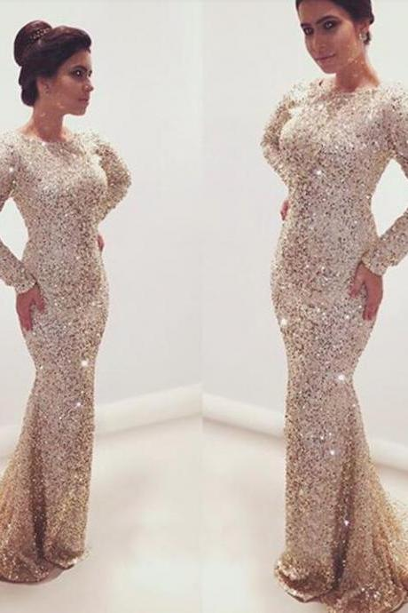 2017 Custom Charming Mermaid Sequins Prom Dress, Sexy Long Sleeves Evening Dress