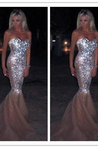 Charming Chiffon Sequins Prom Dress,Sexy Sweetheart Evening Dress,Elegant Beading Prom Dress