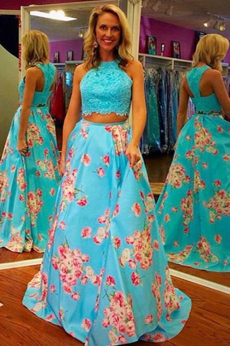 Two Pieces Long Blue Prom Dresses For Teens,Vintage Dresses,Simple Handmade Prom Gowns,Beauty Evening Dresses,Lace Party Dresses,Women Dresses